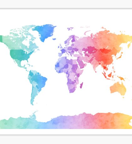 Watercolor Map of the World Map Sticker