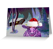 Pearl the Purple Cow waiting for Santa Greeting Card