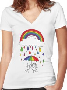 Rainbow Magic Women's Fitted V-Neck T-Shirt