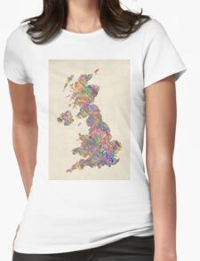 Great Britain UK City Text Map Womens Fitted T-Shirt