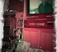"Mickey Watching ""The Shining,"" His Favorite Film ! by Edmond J. [""Skip""] O'Neill"