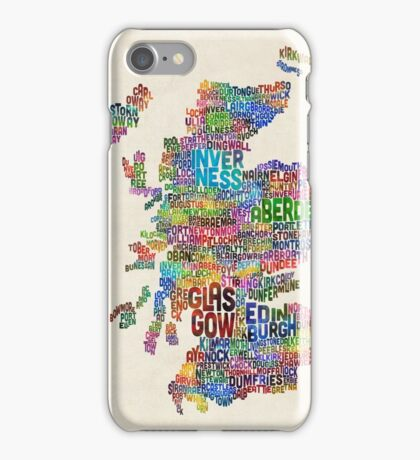 Scotland Typography Text Map iPhone Case/Skin