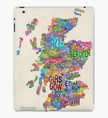 Scotland Typography Text Map iPad Case/Skin