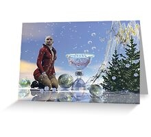 Christmas woman, Surrealistic festive text card. Greeting Card