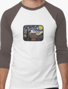 The starry night with Snoopy Men's Baseball ¾ T-Shirt
