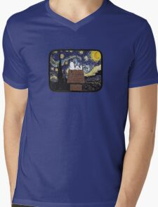 The starry night with Snoopy Mens V-Neck T-Shirt