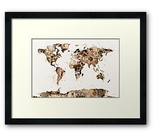 Map of the World Map Sepia Watercolor Framed Print