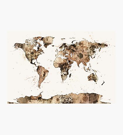 Map of the World Map Sepia Watercolor Photographic Print