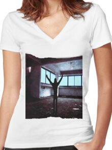 Alone Women's Fitted V-Neck T-Shirt