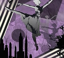 Ballerina City Sun Burst Dark Purple by Patience Miller
