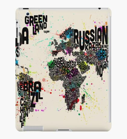 Paint Splashes Text Map of the World iPad Case/Skin