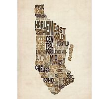 Manhattan New York Typography Text Map Photographic Print