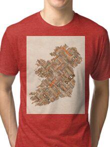 Ireland Eire City Text map Tri-blend T-Shirt