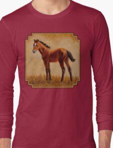 Cute Bay Quarter Horse Foal Long Sleeve T-Shirt