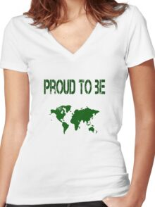 Proud to be international Women's Fitted V-Neck T-Shirt