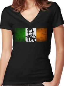 Conor McGregor Irish Flag Women's Fitted V-Neck T-Shirt
