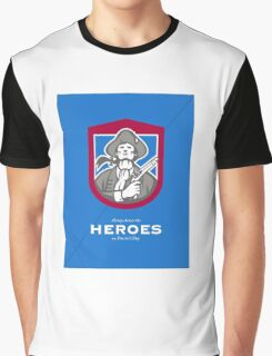Patriots Day Greeting Card American Patriot With Flintlock Shield Graphic T-Shirt