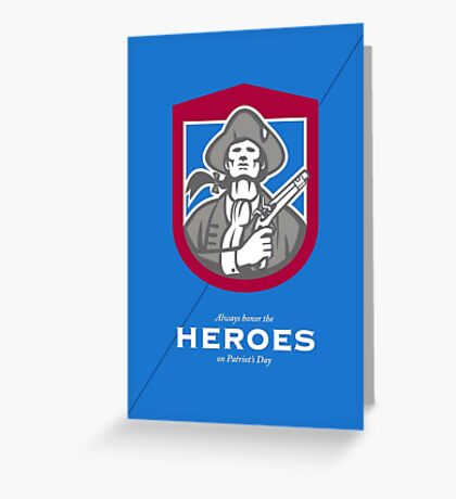 Patriots Day Greeting Card American Patriot With Flintlock Shield Greeting Card