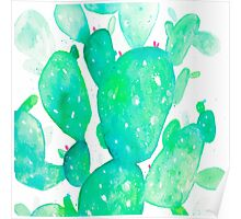 Green Watercolour Cactus Poster