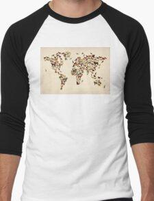 Dogs Map of the World Map Men's Baseball ¾ T-Shirt