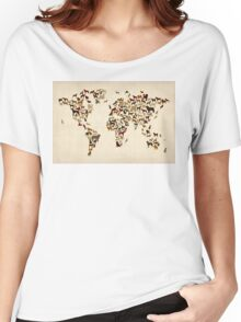 Dogs Map of the World Map Women's Relaxed Fit T-Shirt