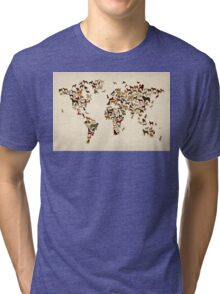 Dogs Map of the World Map Tri-blend T-Shirt