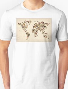 Dogs Map of the World Map Unisex T-Shirt