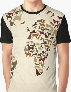 Dogs Map of the World Map Graphic T-Shirt