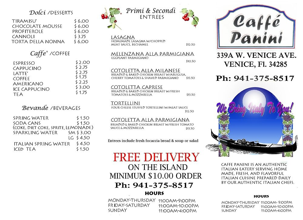 TRIFOLD TAKEOUT MENU CAFFE PANINI by alex glanville