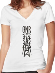 Galaxy News Radio Rock Gradient Women's Fitted V-Neck T-Shirt
