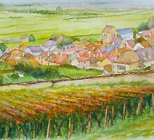 The French village of Epernay and its vineyards in autumn by Dai Wynn