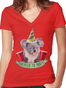 Koala-fied To Party Women's Fitted V-Neck T-Shirt