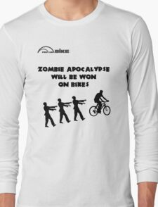 Cycling T Shirt - Zombie Apocalypse Will be Won on Bikes Long Sleeve T-Shirt