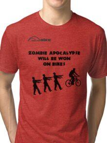 Cycling T Shirt - Zombie Apocalypse Will be Won on Bikes Tri-blend T-Shirt