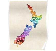 New Zealand Typography Text Map Poster