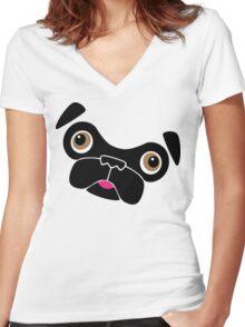 Cute little pug Women's Fitted V-Neck T-Shirt