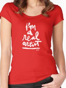 Real Artist : White Script Women's Fitted Scoop T-Shirt