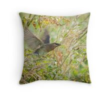 Waxwing And The Spider Throw Pillow