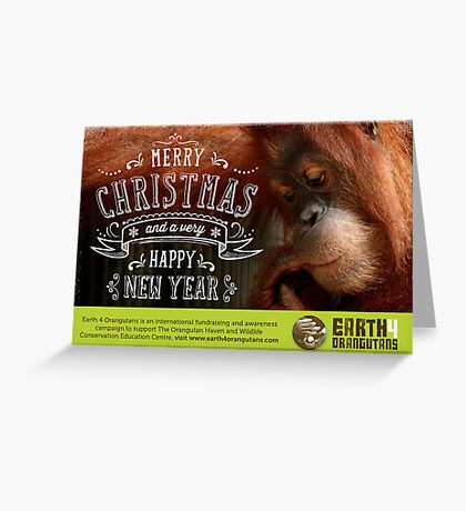 Earth 4 Orangutans Christmas Card - 2 Greeting Card