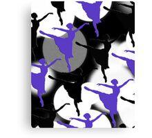 Ballerina Bokeh Light Spots Blue Purple Canvas Print