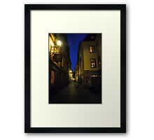 Night Time in a Stockholm Alleyway (1) Framed Print