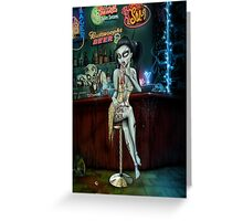Barfly Zombie Chick Greeting Card