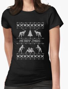 Zombie Christmas Sweater Womens Fitted T-Shirt