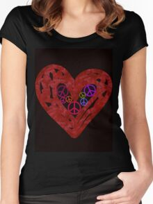 Heart Full Of Peace Women's Fitted Scoop T-Shirt