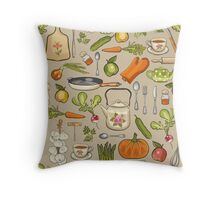 Retro kitchen. Throw Pillow