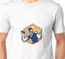 American Football Quarterback QB Woodcut Unisex T-Shirt