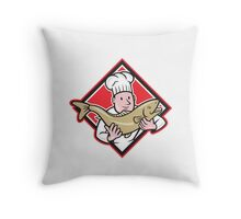 Chef Cook Handling Salmon Trout Fish Cartoon Throw Pillow
