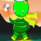 Merry Christmas Green Alien Girl card by Dennis Melling