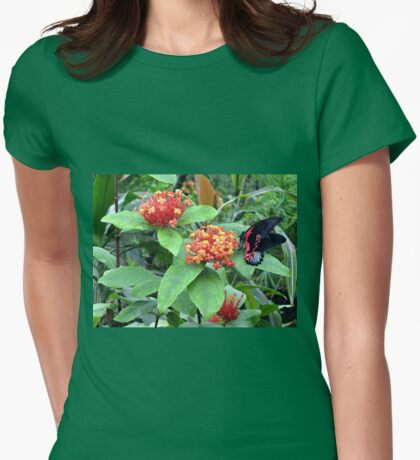 Butterfly on Lantana Womens Fitted T-Shirt