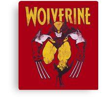 Wolverine Retro Comic Maroon Canvas Print